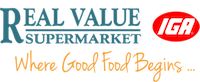 A theme logo of Real Value IGA Supermarket